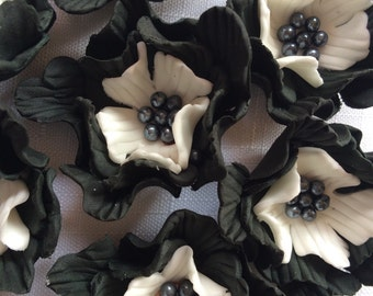 "fondant flowers, 12pcs 2"" edible flower cupcake toppers black white wedding cake topper decorations birthday bridal shower anniversary"