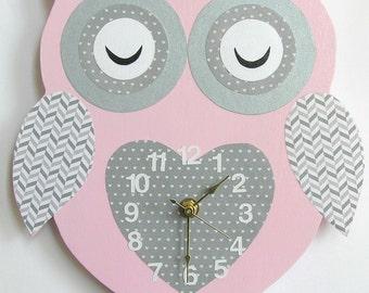 Nursery Wall Clock, Nursery Owl Clock, Hanging Owl Clock, Children's Room Wall Clock, Owl Wall Clock, Kid's Room Owl Wall Clock (pink/grey)