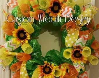 Spring/Summer Wreath, Sunflower Wreath, Deco Mesh Sunflower Wreath