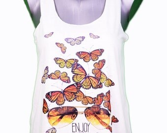 "top woman ""hello summer"" - butterfly - was / / hello summer - butterfly girl tank-top"
