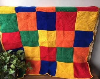 Crochet Patchwork Throw Afghan Blanket, lounge gift bedding gift, Red Blue Yellow, handmade crochet throw blanket afghan, Etsy Australia