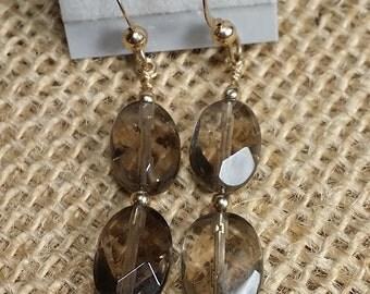 Gold filled, earrings, smokey Quartz, beads.