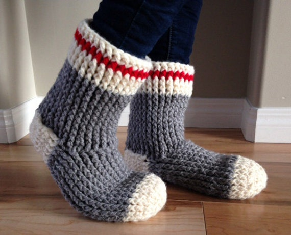 Knitting Patterns For Old Fashioned Slippers : Items similar to Old Fashioned Work Sock Slipper Boot ...