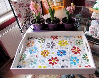 Tray/Daisy Tray/ Serving Tray/Mosaic Tray/Floral Tray /Rustic Decorative Tray square Tray Home Gift  Handmade Garden gift