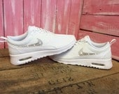 Swarovski Nike  Air Max Thea Running Shoes White Blinged Out With Swarovski Crystal Rhinestones Bling Nike Shoes