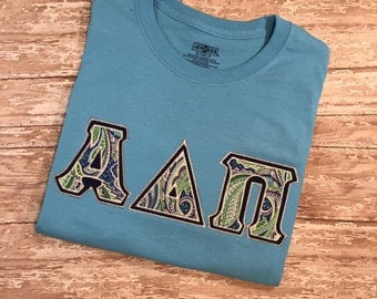 greek stitched letter shirt double stitched letter tee sorority letters tshirt comfort colors applique greek letters adpi aopi dz phi mu