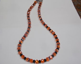 Beaded hand made  necklace with Crystal