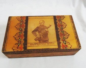 Antique Handmade Wooden Box/Pyrography box / Antique style and decoration/ Memory Box /1960s/ Unique gift, Bulgarian Soldier