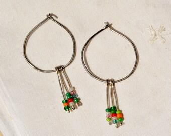 Silver Earrings. Hoop Earrings. Seed Bead Earrings. Colorful Earrings. Dangle Earrings. Handmade Earrings. Silver Jewelry. Made in Israel