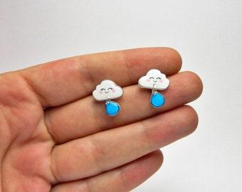 Cloud with rain drop earrings Rainy Day Cloud stud earrings