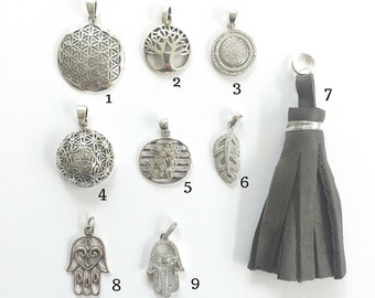 Sterling Silver Symbol Charms for Mala Necklace / Silver Ch arm Necklaces/ Sacred Geometry Silver Charms