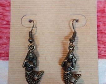 Mermaid with shell dangle earrings