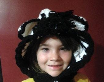 Hand crochet cowl hood