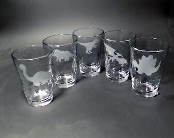 Set of 5 Dinosaur Juice Glasses - Kids Juice Glasses - Dinosaur Glasses - TRex - Pterodactyl - Stegosaurus - Triceratops -Apatosaurus Glass