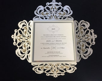 Luxurious Crytal White Lasercut and Silver Foil Invitation Suite