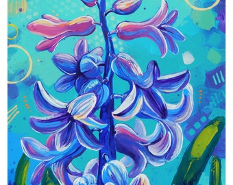 "Hyacinth - Original colorful traditional acrylic painting on paper 8.5""x11"""