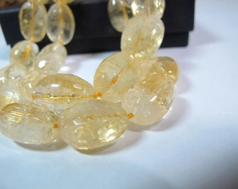 Citirne faceted pebble beads, Genuine citrine nuggets, DIY loose beads, Four pieces