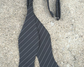 Mens Bow Tie- Freestyle Bow Tie - Pinstripe Wool Bow Tie - Handcrafted- Tied or Untied