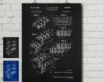 Lego 2 Patent Request Print - Lego Minifigures, Toy, Bricks, Lego Movie, Lego Kits, Games, Blueprint, Wall Decor, Wall art, Cool Gift!