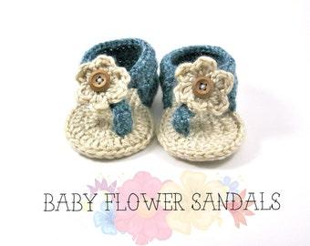 Baby Flower Sandals>>Girls Can Wear Blue>>Crochet Booties/Sandals>>BFS001