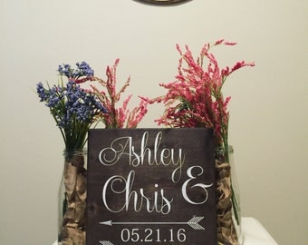 Wedding Gift -Custom Wooden Sign - Names & Date - Gift for Newlyweds - Bridal Shower Gift