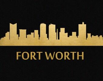 Fort Worth Skyline Gold Foil Print 8x11
