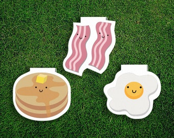 Magnetic Bookmark | Breakfast Magnet Bookmarks Pack of 3, Bacon and eggs, Pancakes, Magnetic, Cute, Quirky, Food, Bookmarks, Kawaii.