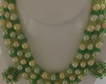 Fabulous Vintage Plastic 3 Strand Springy Necklace and Matching  Clip earrings Era 1950's