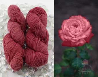 Rose, Hand dyed worsted weight yarn 220 yards