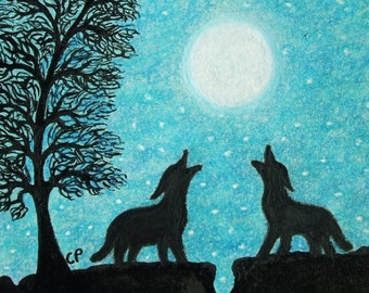 Wolf Card, Silhouette Card, Wolf Moon Tree Card, Wolf Birthday Card, Turquoise Animal Card, Wolf Silhouette Card, Two Wolves Tree Moon Stars