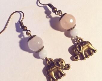 Earrings elephants Rose Quartz