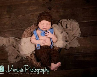 Suspender and Bow tie Crochet newborn photo prop