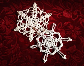 Snowflakes - hand-made crocheted cotton