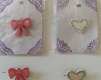 Bow and Heart Pins