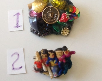 Pin Featuring Buttons and Dolls, Vintage