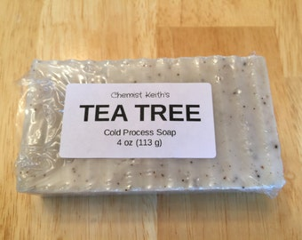 Homemade Tea Tree Cold Process Bar Soap, 4 oz