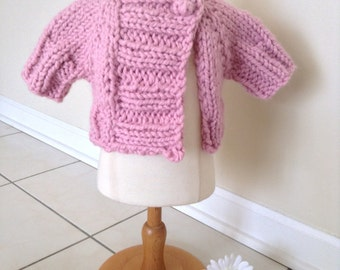 Pink Hand Knit Baby Shrug, Bulky Hand Knit Baby Sweater, Bulky Hand Knit Baby Cardigan, Newborn, 3 Months, 6 Months, 12 Months