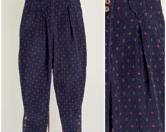 90s Vintage Corduroy XS 2 Pants Navy Ultra High Rise Waist Belt Loops POCKETS Buttoned Hems Halloween SOUTHWEST Tapered Leg