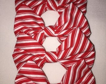 Red and white striped frabric hair bow