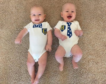 TWIN BOYS Bow Tie and Polka Dot Tie Matching Onesies (1ea/ 2 total) with Monogrammed Initial!! Custom Made with Colors of YOUR Choice!!
