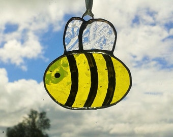 Stained Glass Bee Suncatcher Mini Gift Or Decoration Bumble Beekeeping
