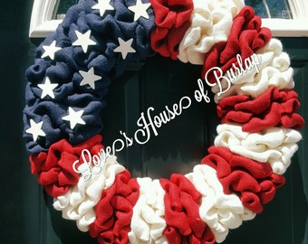 American Flag wreath, 4th of July wreath, Patriotic Wreath, Flag Wreath, Memorial Day Wreath, Red, White and Blue Wreath, Burlap Wreath