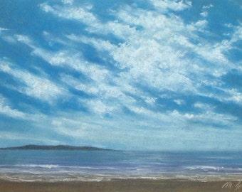Pacific - small original pastel painting California seascape ocean beach waves skies clouds coastal peaceful
