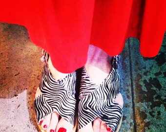 Classic pony fur zebra sandals!