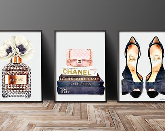 Fashion illustration Set of 3 fashion posters perfume, books, shoes, bag, Watercolor, poppy, Gold, watercolour decor, make up room, bedroom