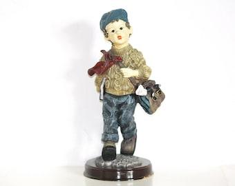 Dollstone Figurine, Ceramic Figurine, Ceramic Doll, Schoolboy Figurine, Collectible Figurine, Big Knick Knack, Rare Figurine