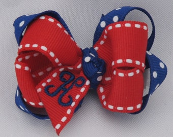 All American Monogrammed Baby Bow