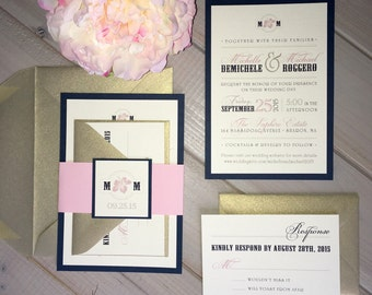 navy and blush wedding invitations pink and light gold wedding invitations blush pink - Navy And Blush Wedding Invitations