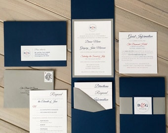 Red, White And Blue Wedding Invitations, Navy And Gray Wedding Invitations,  Modern Wedding