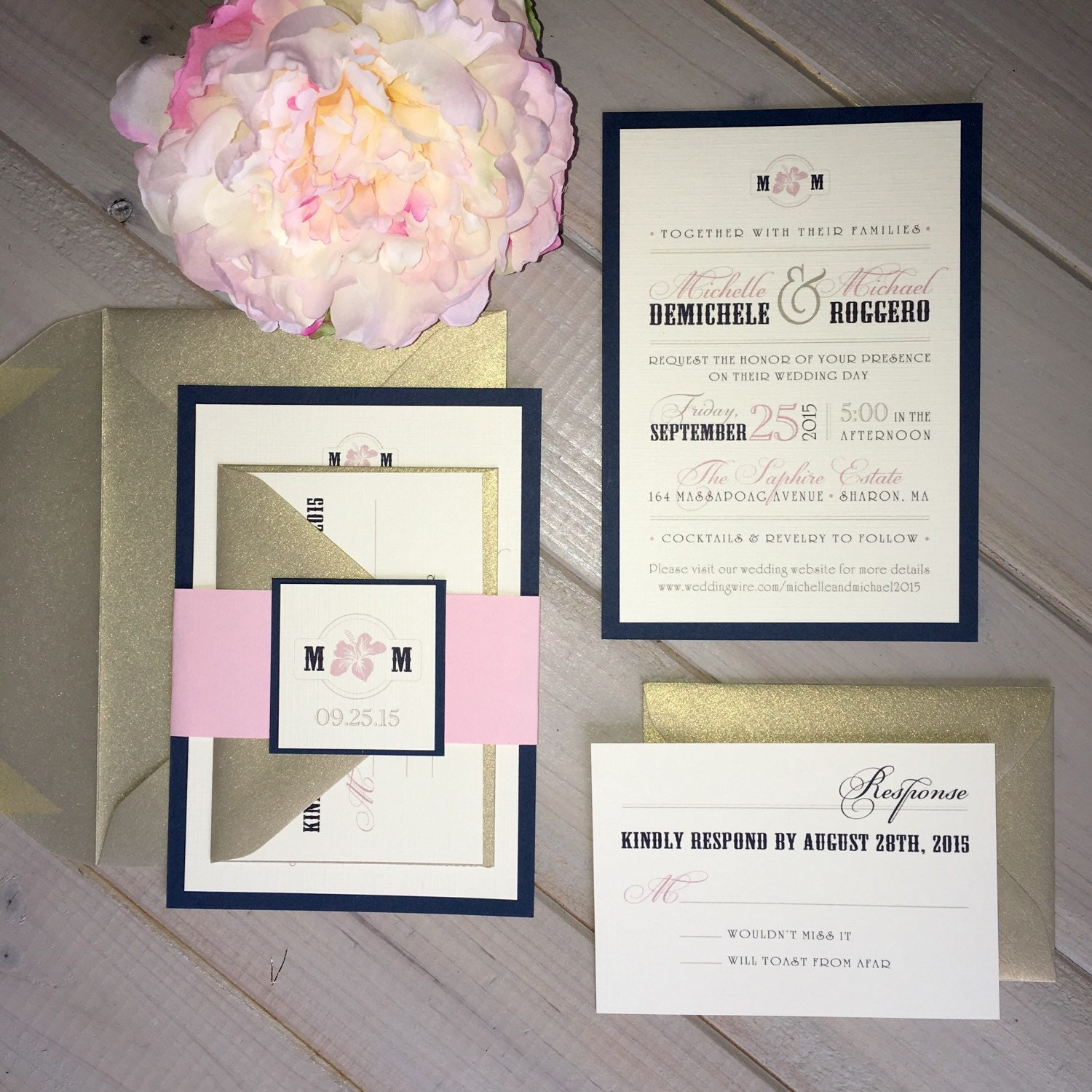 Navy And Blush Wedding Invitations Pink And Light Gold